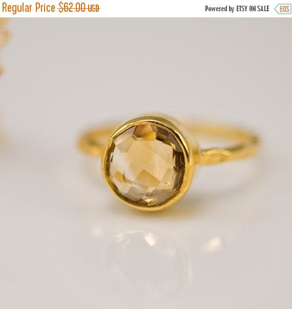 Yellow Citrine Ring Gold  November Birthstone by delezhen | sz 8