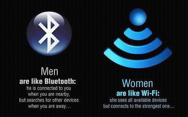 Men are like Bluetooth and Women are like Wi-Fi.