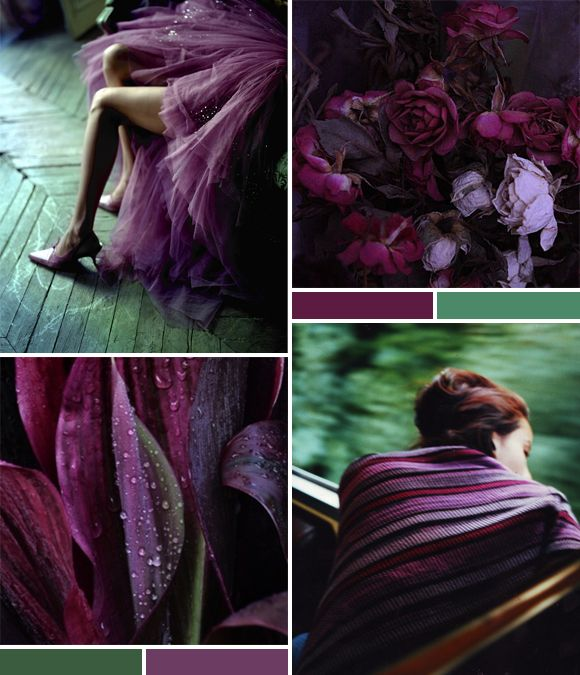 Mood board aubergine green lovely clusters http www for Shades of dark purple