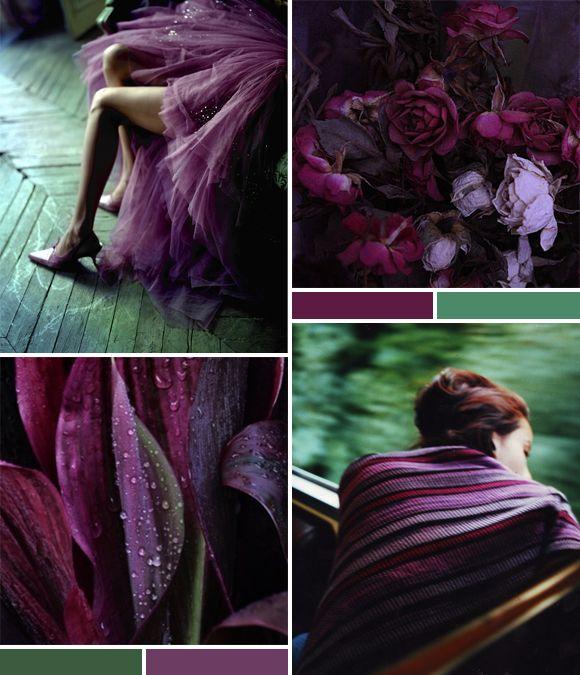 Mood Board: Aubergine   Green | Lovely Clusters - http://www.lovelyclustersblog.com