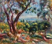 Cagnes Landscape with Woman and Child  by Pierre Auguste Renoir