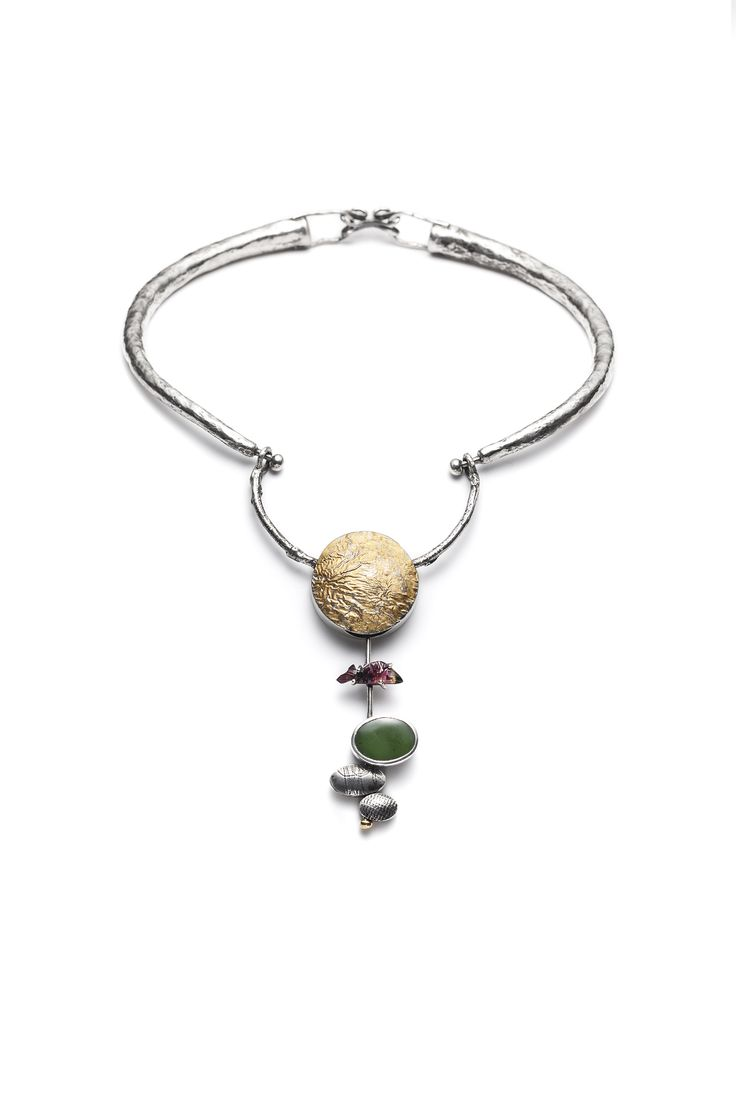 Oncorhynchus - necklace. fine silver, sterling silver, jade, tourmaline, gold apliqué. Jade Pauzé, 2015