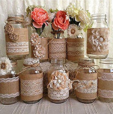 Several ideas to decorate jars with burlap. Sign up for our Crate Charms Newsletter for up dates and awesome articles, how to's , crafts and so much more!   You also have the chance to win a full year's worth of boxes absolutely free!  Please share.  http://www.cratecharms.com/