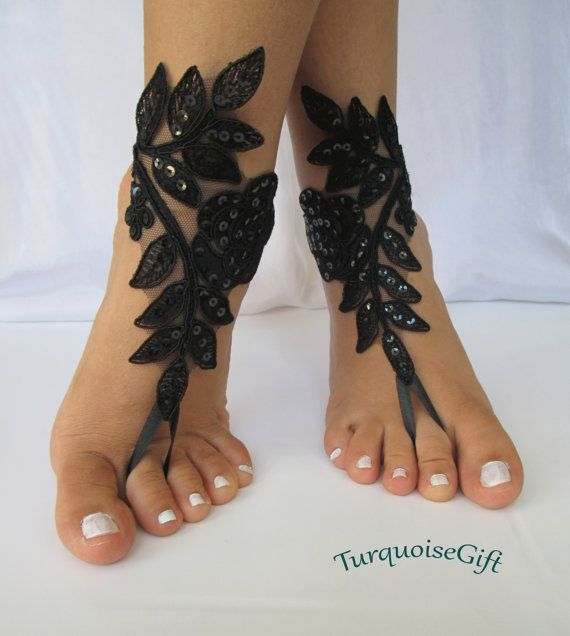 Free shipping Wedding BAREFOOT sandals Bridal by TurquoiseGift