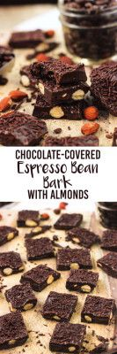 Chocolate-Covered Espresso Bean Bark with Almonds is an easy, no-bake dessert that's packed with flavor!| mysequinedlife.com