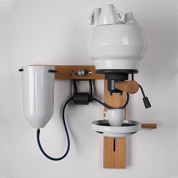 """A beautiful sculpture; """"German product design student Arvid Häusser invented this beautiful Espresso machine using the qualities of porcelain such as high thermal storage, neutrality in taste and an antiseptic surface."""" (Trendland)"""