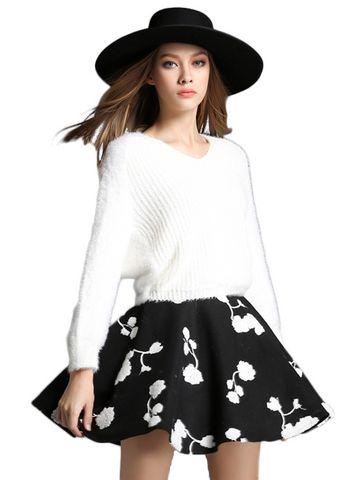 DWU Częściowa Z Dekoltem V Biały Sweter Czarna spódnica mini & Two Pieces Suits - w JollyChic