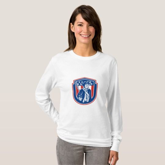 American Patriot Holding Bayonet Rifle Shield Retro T-Shirt. Long sleeve t-shirt for women with an illustration of an American patriot holding a bayonet rifle facing front set inside a shield with stars and stripes on isolated background done in retro style.  #patriot #starsandstripes #tshirt