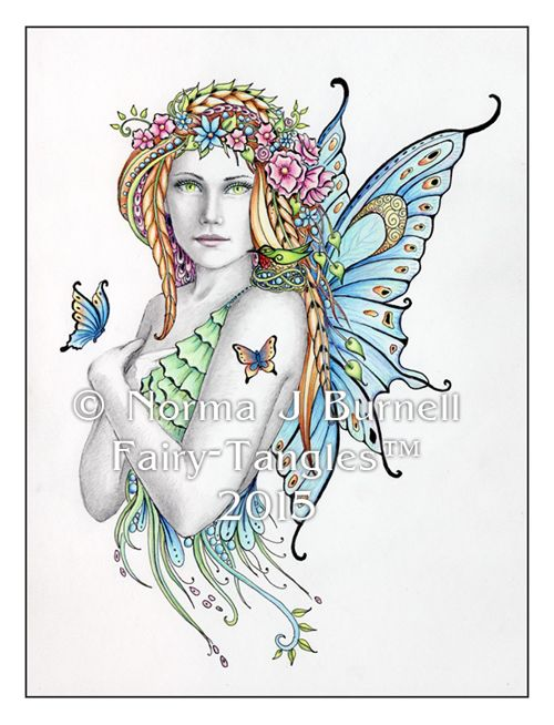 spring an original fairy tangle by norma j burnell 4x6 inches in