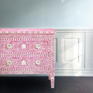 Mollyshome pink chest of drawers with intarsia flower mosaic.