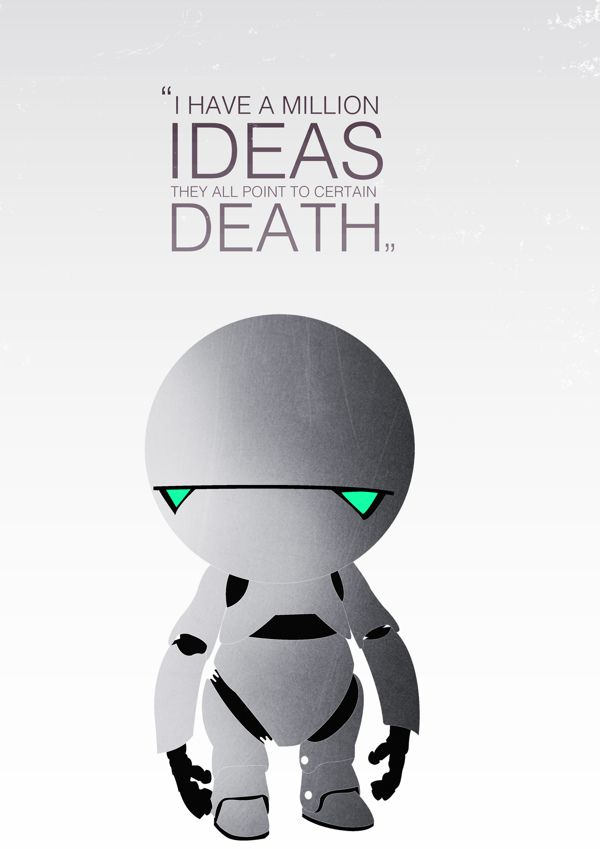 Marvin, The Paranoid Android by Sadhbh McCarthy, via Behance