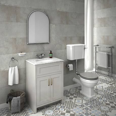 Chatsworth Grey 610mm Vanity with White Marble Basin Top In Bathroom Image