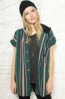 Vintage Renewal Striped Hooded Shirt