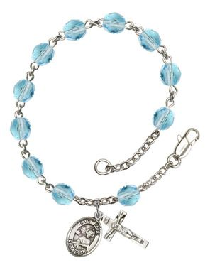 St. Mark the Evangelist Silver-Plated Rosary Bracelet with 6mm Aqua Fire Polished beads