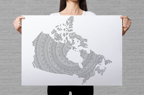 Canada map coloring poster mandala wall art patriotic gifts for Canadian Canada province map political map poster mandala pattern by AnnaGrundulsDesign #annagrundulsdesign