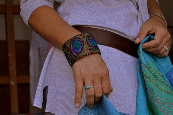 Crazy Quilt Embroidery silk embellished bracelet with by moligami