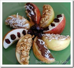 Apple Dessert -- soak in a bowl of cold water with a few drops of lemon juice - dry before adding peanut butter or cream cheese - press into bowl of toppings -- Apple Toppings: granola, chocolate, coconut, cranberries, raisins, nuts, toasted wheat germ, ground flax meal