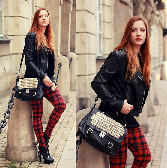 Stradivarius Tartan Leggins, H&M Jacket, Re Style.Pl Bag, Deezee Shoes
