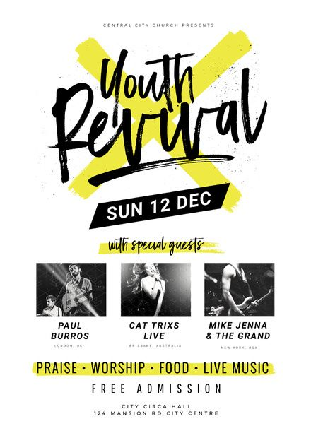 youth revival church event template  poster  fetival