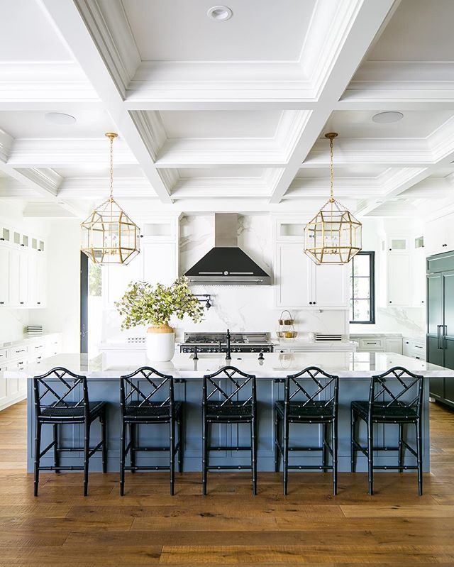 Kitchen Island Cabinetry Painted In Sherwin Williams Grizzle Gray Coffered Ceiling Home Home Decor
