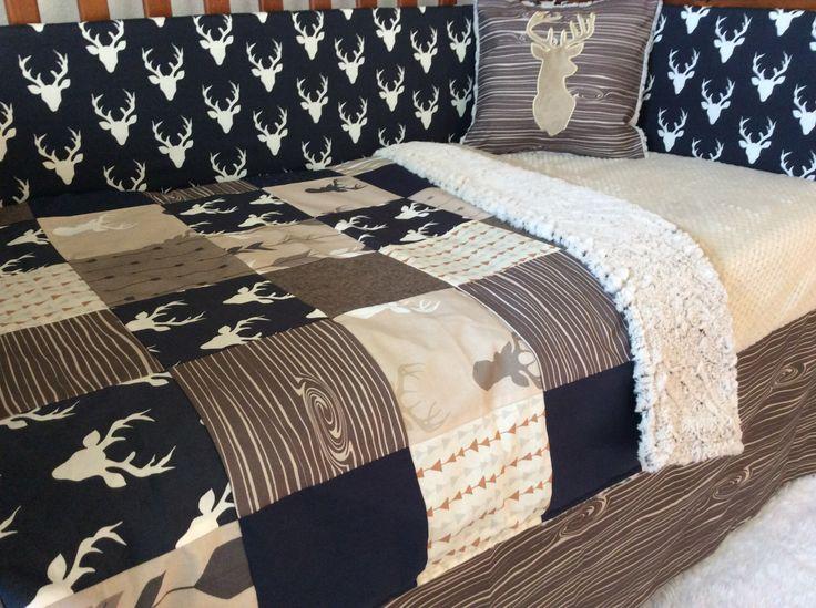 crib or toddler bed set woodland nursery navy tan brown deer crib set baby boy bedding