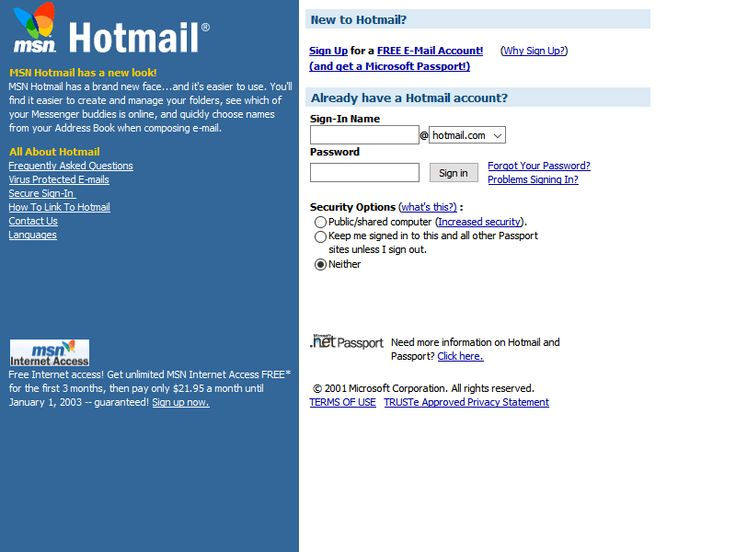 Hotmail website in 2001