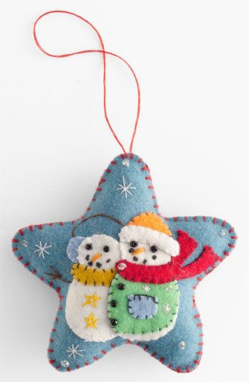 New World Arts 'Puffy Star with Two Snowmen' Ornament available at #Nordstrom. I'm really liking these felt ornaments. I wonder if my kids could handle simple sewing for this.