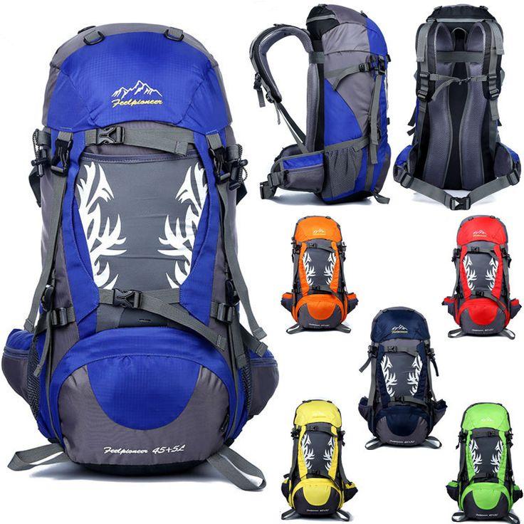 На открытом воздухе путешествие пеший туризм альпинизм кемпинг альпинизм мешок мужчины и женщины водонепроницаемый нейлон рюкзак высокая емкость 45 + 5 л