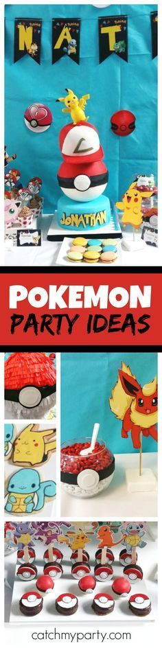 Take a look at this fun Pokemon birthday party! The birthday cake is awesome!! See more party ideas and share yours at CatchMyParty.com
