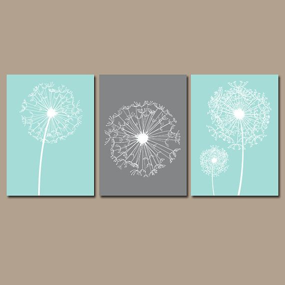 DANDELION Wall Art CANVAS or Prints Flower Aqua Gray Custom Colors Modern Nursery Set of 3 Bedroom Bathroom Dorm