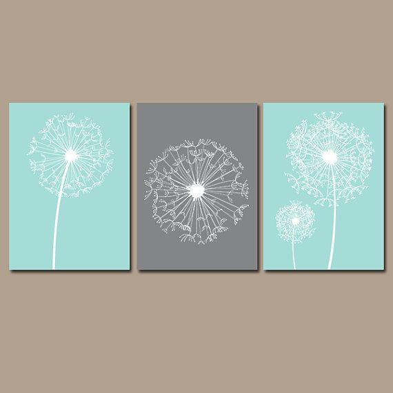 dandelion wall art canvas or prints flower aqua gray by trmdesign