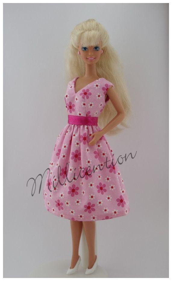 Pink floral Barbie doll dress