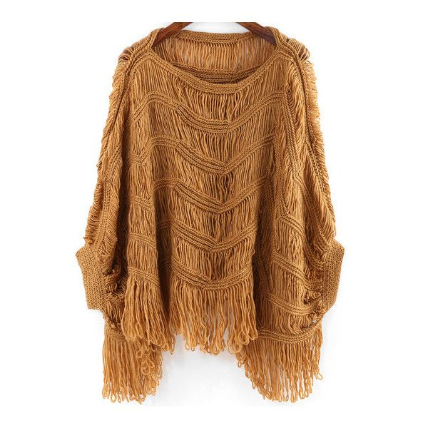 SheIn(sheinside) Camel Round Neck Batwing Sleeve Tassel Sweater ($27) ❤ liked on Polyvore featuring tops, sweaters, camel, pullover sweater, bat sleeve tops, embellished tops, brown pullover sweater y long sleeve batwing top
