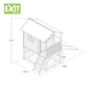 EXIT - Spielhaus Loft 500, mit Rutsche und Sandkasten, rot