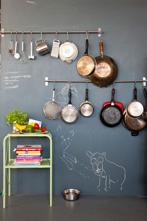 Love this wall. Use a rod and hooks to hang your bulkier kitchen items - MyHomeLifeMag.com