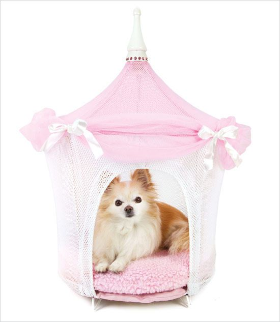 Pretty in Pink Dog Cat Pet Bed This tent bed is made of white nylon fabric and features a billowing eave of fine sheer material. The eave is secured by five white Satin ribbons, which are tied in bows.   Read more at http://www.collarplanetonline.com/servlet/the-4402/Pretty-in-Pink-Dog/Detail#ZrkerM2JI6lvqiok.99 Read more at http://www.collarplanetonline.com/servlet/the-4402/Pretty-in-Pink-Dog/Detail#ZrkerM2JI6lvqiok.99