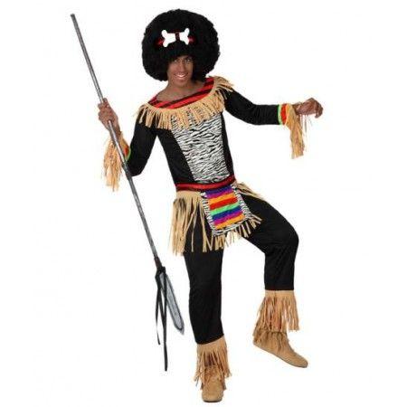 Disfraz de Africano Incluye: Pantalon , cinturon , chaqueta y accesorio para la cabeza  Composición: Punto, terciopelo y antelina http://www.disfracessimon.com/disfraces-hombre-mujer-adultos/2571-disfraz-africano-p-2571.html