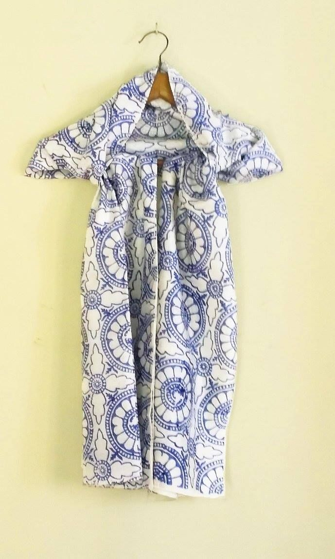 """Long scarf with dark blue block print on white pure silk. Can be worn with a shirt or a jacket. Size: 23""""x78"""""""