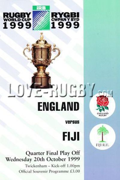 #rugby today 20/10 in 1999 : England 45-24 Fiji - rugby world cup programme  from Twickenham