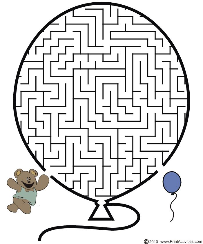 Balloon Maze: Guide the teddy bear through the maze to its balloon