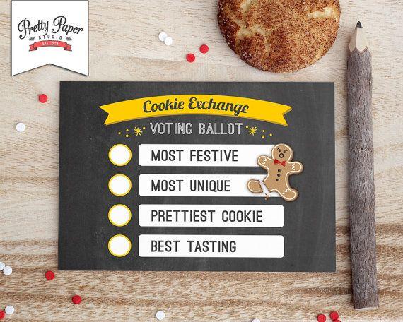 Christmas cookie exchange voting ballots.  Cookie exchange ideas