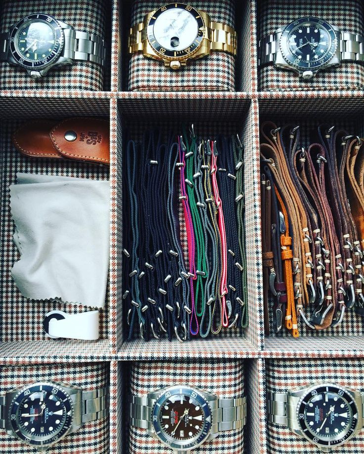 The watch box. Leather straps from @jpmenicucci via @bulangandsons NATOs from Phoenix.