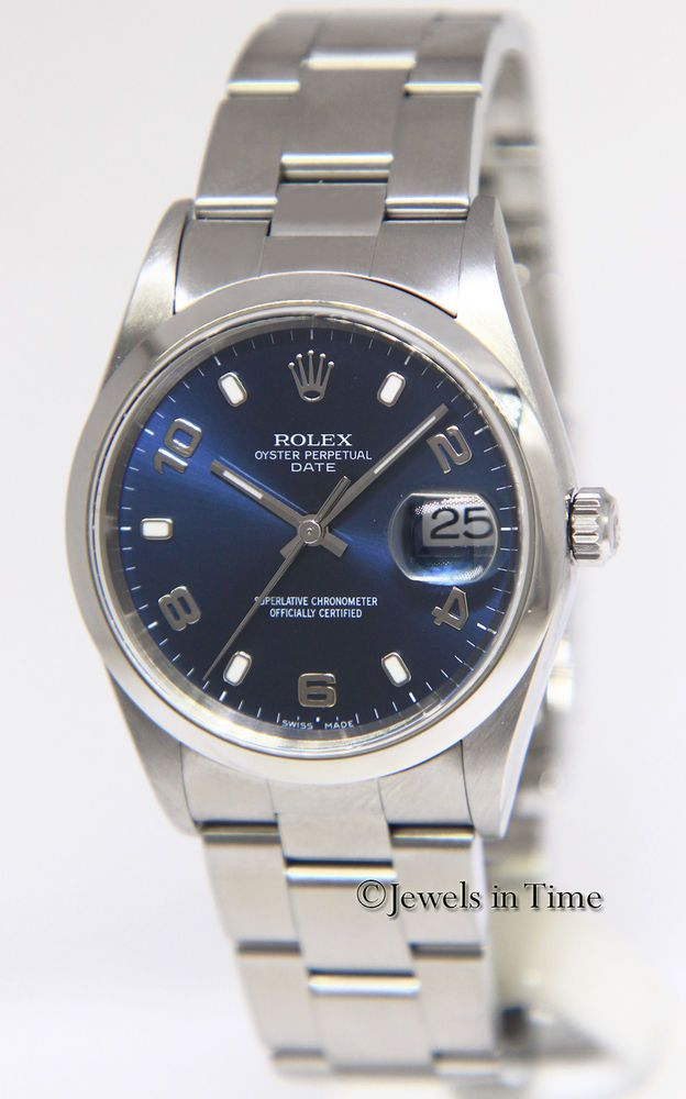 b6c1e7842974 Rolex Date Stainless Steel Blue Dial Mens 34mm Automatic Watch 15200  rolex   menswatches  watchesformen