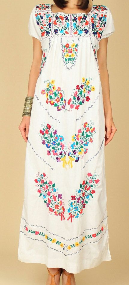 Mexican EMBROIDERED Dress Maxi OAXACAN Floral by hellhoundvintage