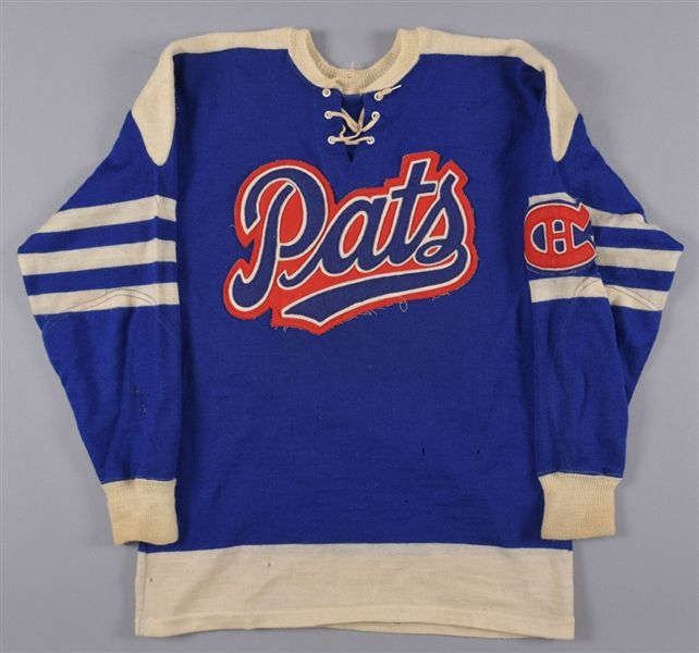 8c90f59ab7a Lot Detail - Late-1950s/Early-1960s SJHL Regina Pats Game-Worn Wool Jersey  From Gordon
