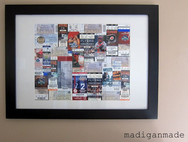 Turn sporting event tickets into framed wall art  ...via Madigan Made.  Inspiration for what to do with old movie tickets!