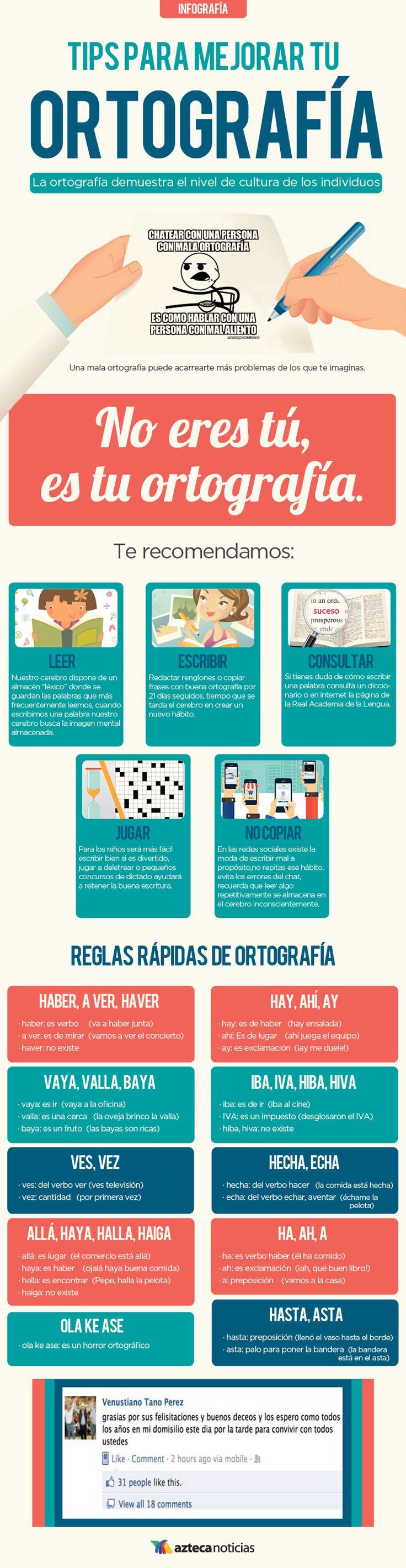 Tips para mejorar tu ortografía #infografia