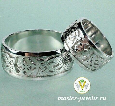 Серебряные обручальные кольца с узорами. Изготовлены на заказ.  Артикул Обр1055, серебро 925 пробы, родий.  Варианты изготовления на заказ: из серебра 925 пробы, золота 585, 750 пробы.