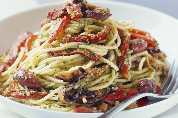 Chargrilled Vegetables and Pesto Pasta. Sun dried tomatoes, peppers, eggplant and olives.