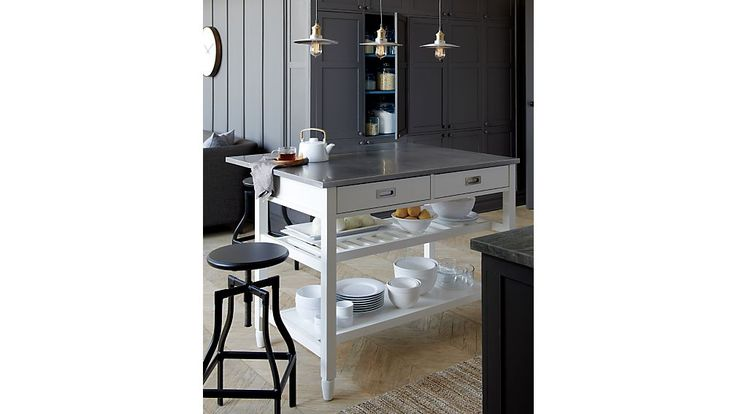 Add Your Kitchen With Kitchen Island With Stools: Turner Black Adjustable Backless Bar Stools And Linen